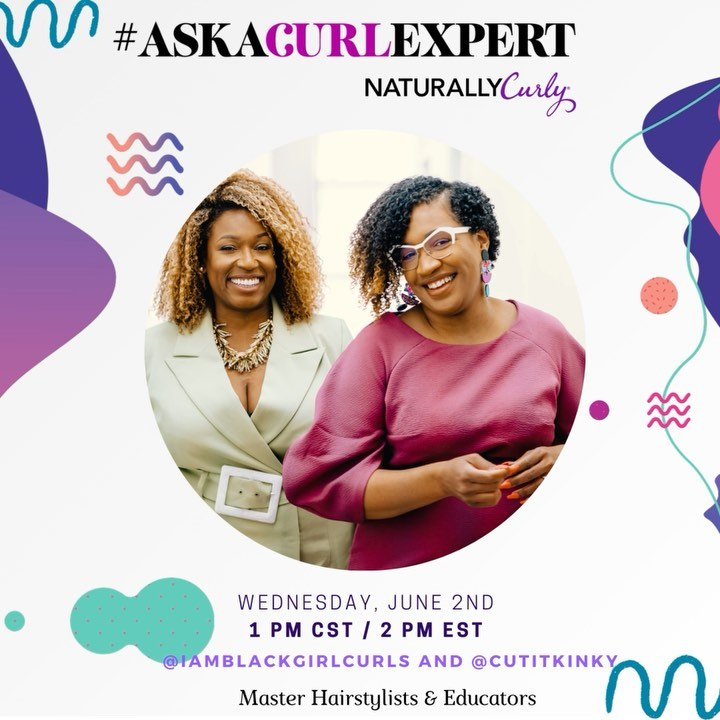 Caring for your natural hair doesn't have to be complicated. We created the #AskACurlExpert series to provide you with professional expertise on how to care for your natural hair to take out the guesswork & have an opportunity to learn from a curly hair expert.   Tomorrow at 1pm cst / 2pm est we'll be going live with the founders and Master Stylists of @iamblackgirlcurls . We'll be discussing how to simplify your hair regimen, why it's important to go on a hair detox to understand hair needs, and address the natural hair myths once and for all. Just know this will be a convo you don't want to miss, so drop your questions below and set your alarms for TOMORROW