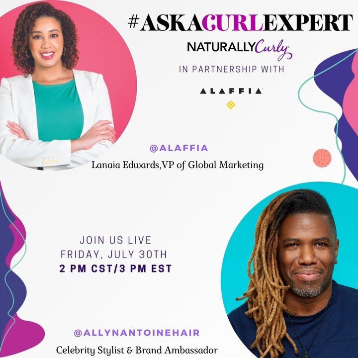 Tomorrow Friday, July 30th ✨Join us for a very special IG LIVE featuring celebrity stylist and brand ambassador @allynantoinehair and Lanaia Edwards, VP of Global Marketing @alaffia